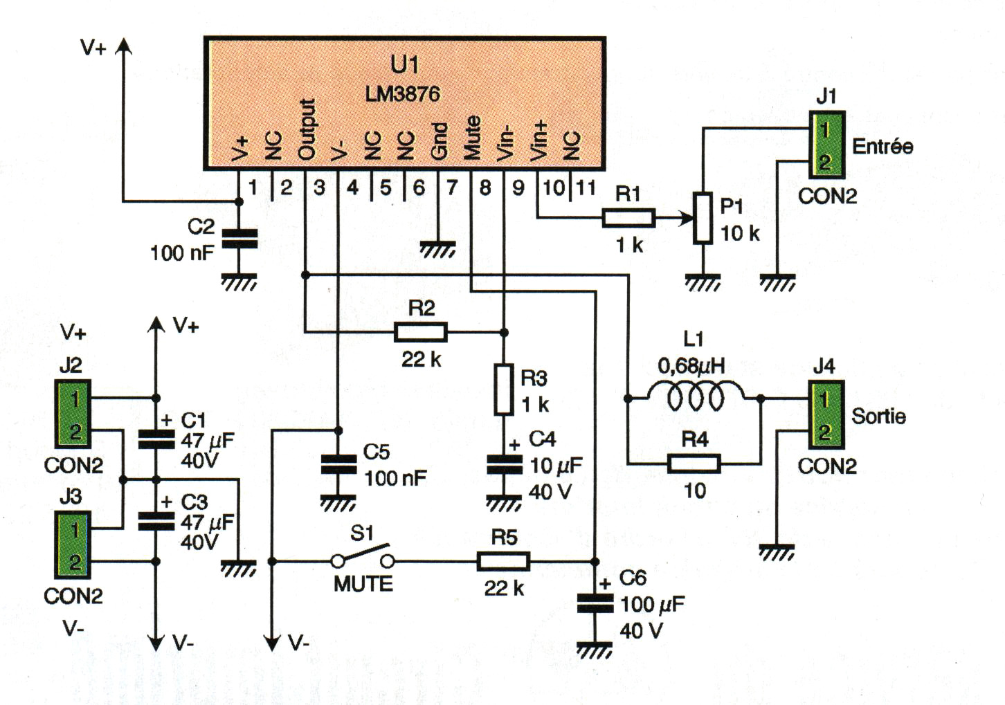 Montages De La Catgorie Audio Amplificateurs Tda2040 Car Stereo Amplifier Circuit Diagram Ampli 56w