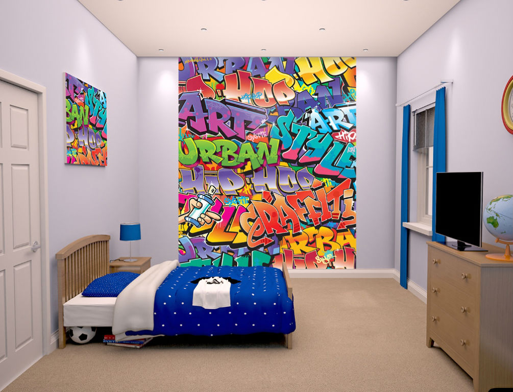 walltastic papier peint mural graffiti 203 x 244 cm. Black Bedroom Furniture Sets. Home Design Ideas