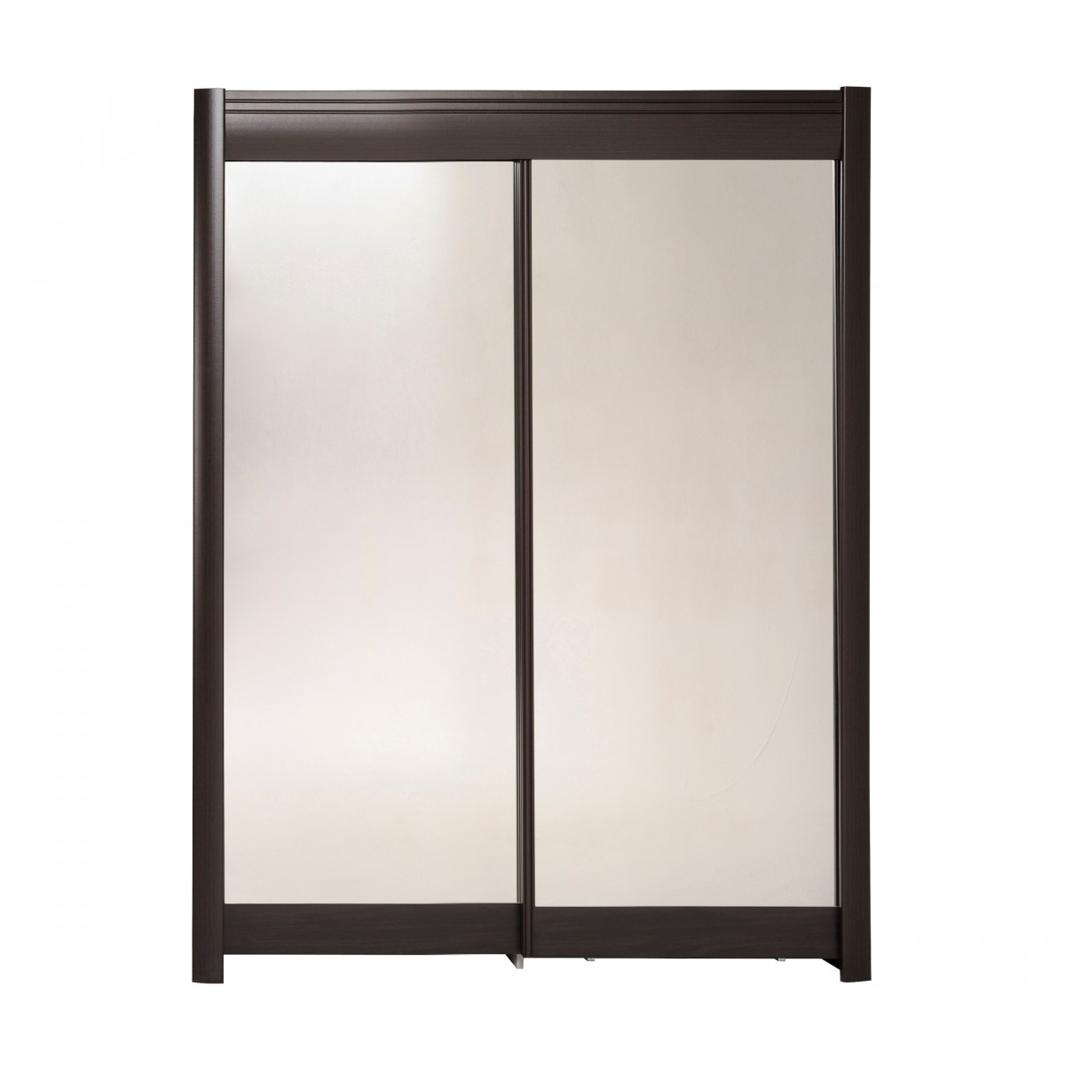 Someo armoire 2 portes coulissantes bois caf miroir 157 - Armoire dressing portes coulissantes miroir ...