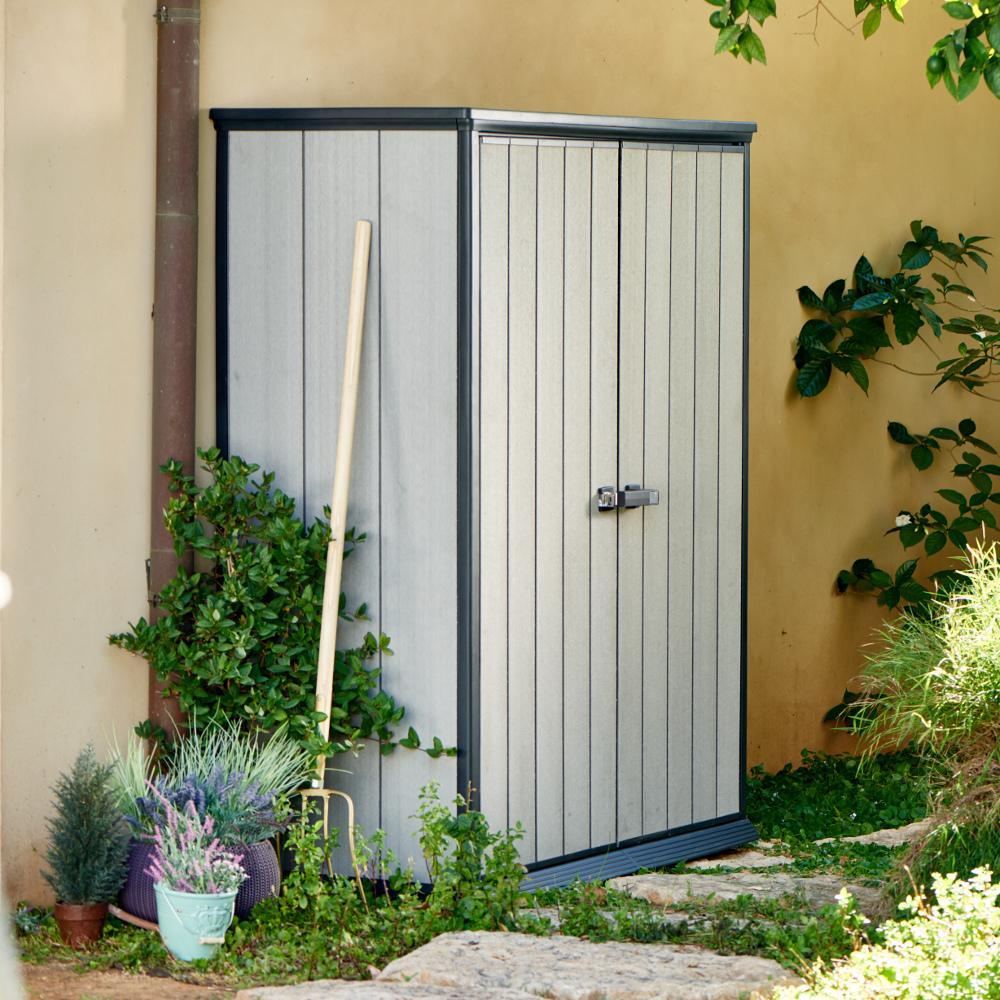 Chalet ccoffre rio anthracite jardin catgorie armoire for Armoire de jardin en pvc
