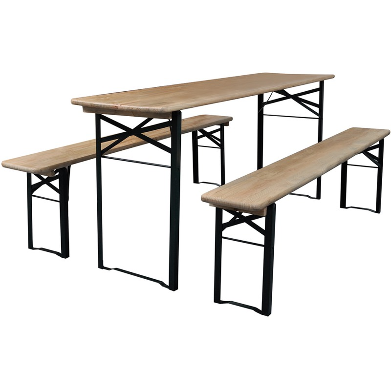 vidaxl table de brasserie pliable et 2 bancs pliables. Black Bedroom Furniture Sets. Home Design Ideas