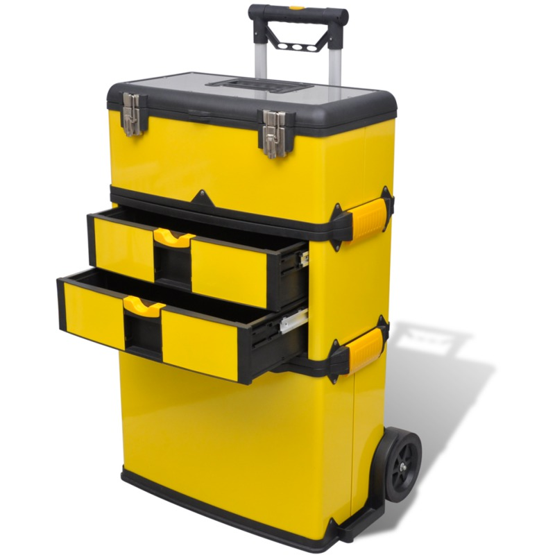 vidaxl valise outils transportable jaune. Black Bedroom Furniture Sets. Home Design Ideas