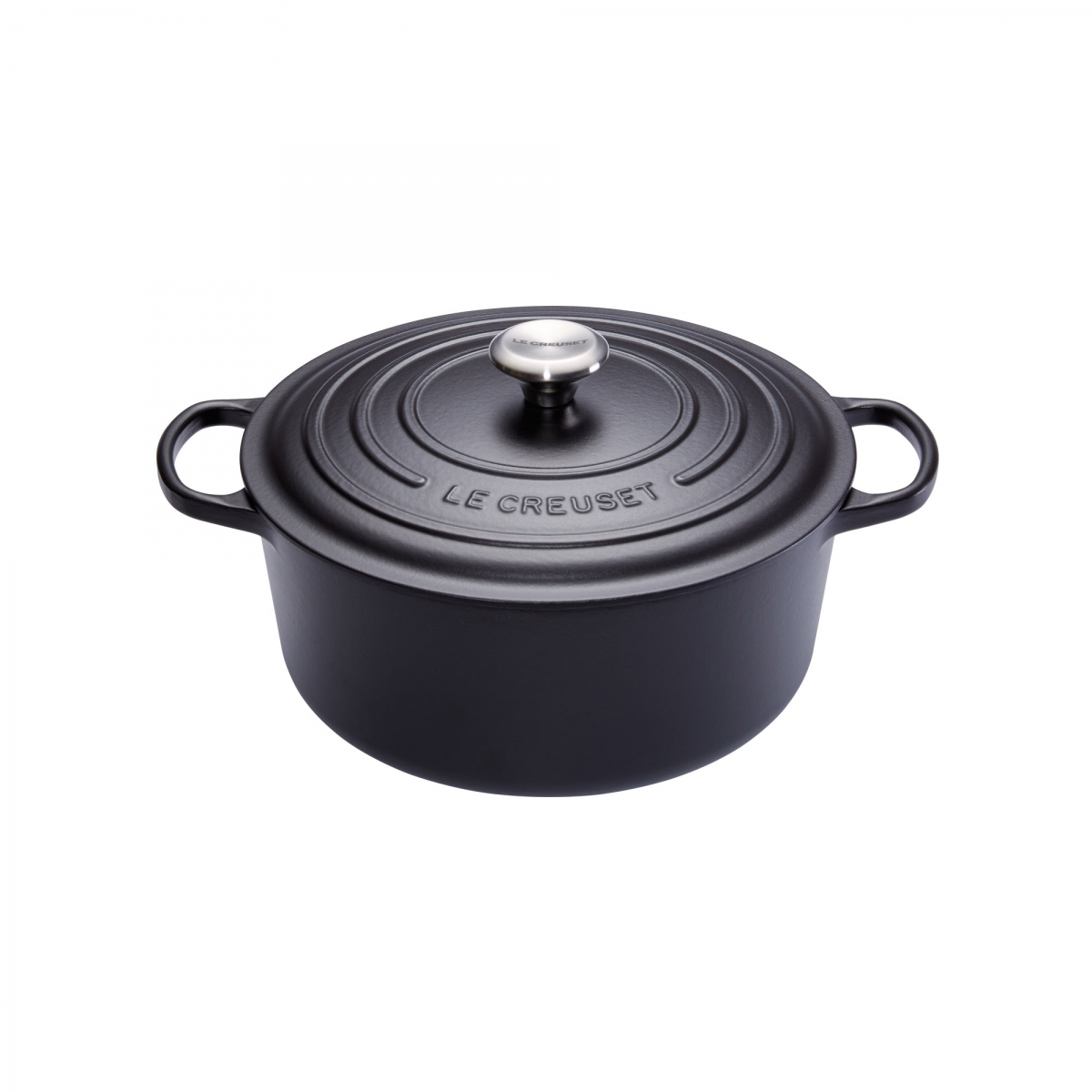 cocotte en fonte ronde 24 cm noir mat le creuset signature. Black Bedroom Furniture Sets. Home Design Ideas