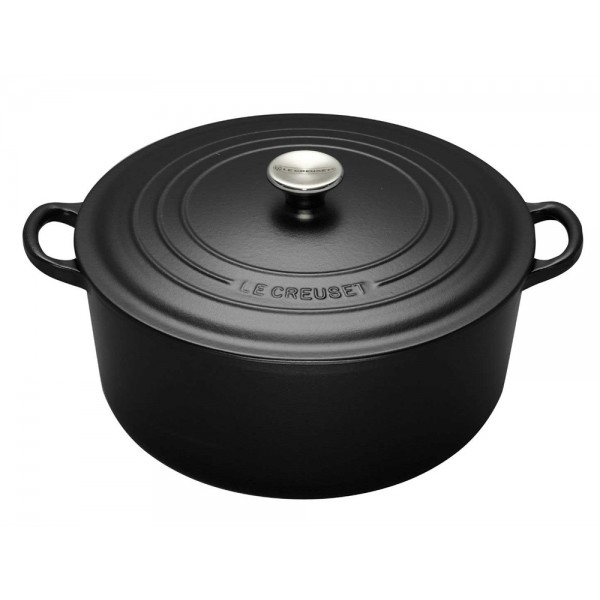 cocotte en fonte ronde 28 cm noir mat le creuset signature. Black Bedroom Furniture Sets. Home Design Ideas