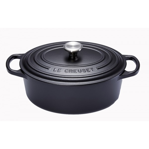 cocotte en fonte ovale 40 cm noir mat le creuset signature. Black Bedroom Furniture Sets. Home Design Ideas