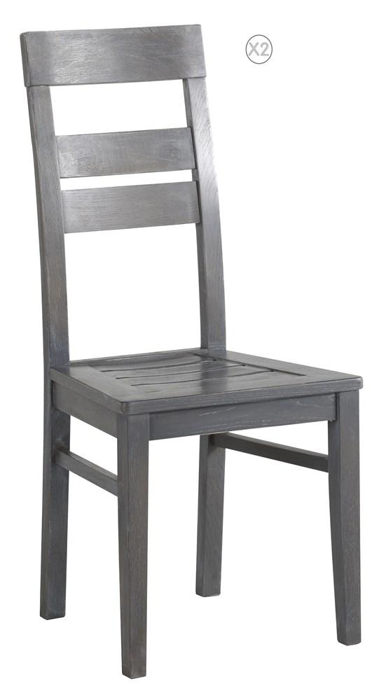 Swithome clot de 2 chaises tina ch ne gris - Chaise salle a manger grise ...