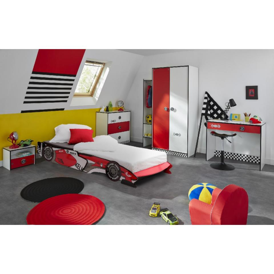 Someo chambre complète rally 90x190/200 rouge et blanc