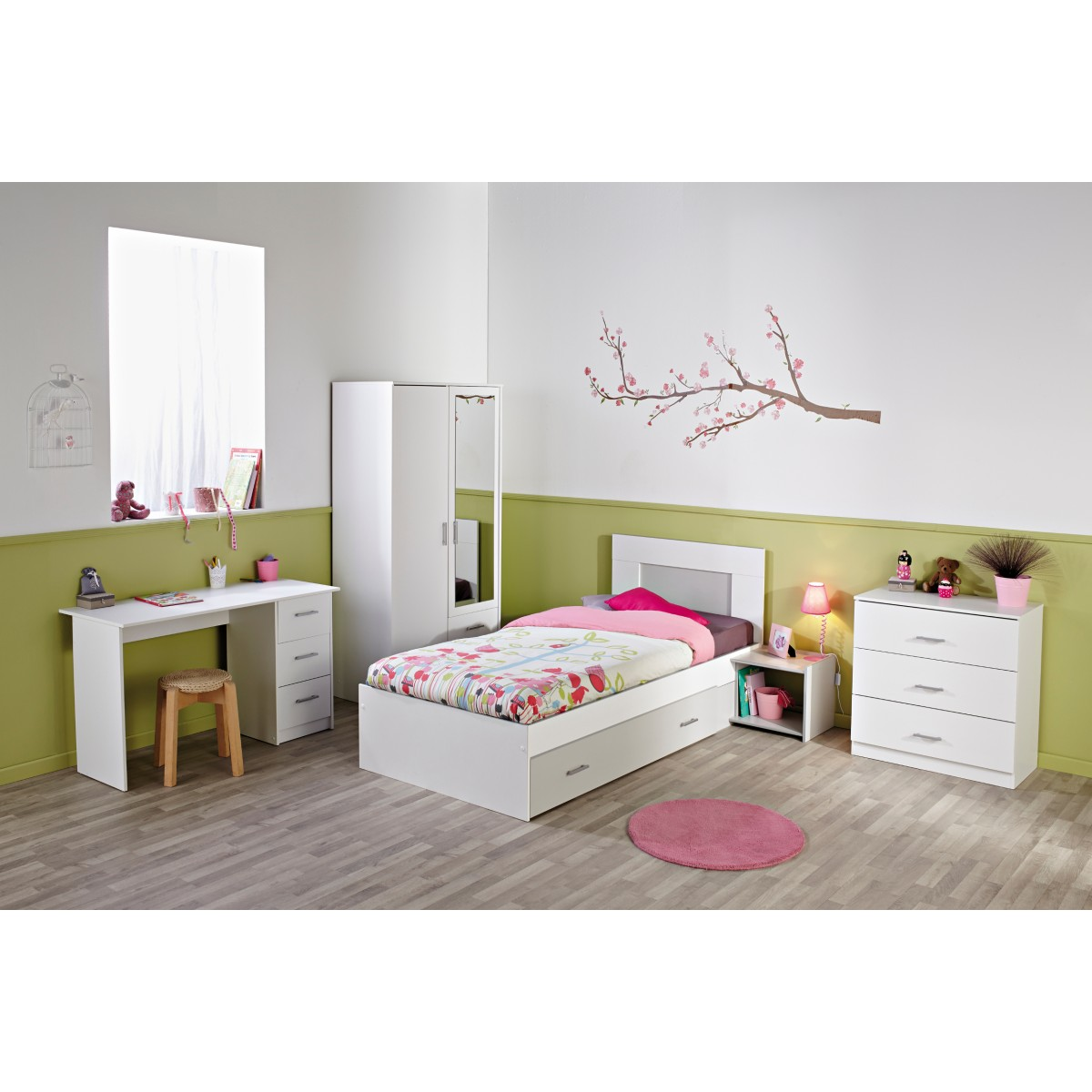 someo chambre compl te enfant en bois blanc m g ve et gr. Black Bedroom Furniture Sets. Home Design Ideas