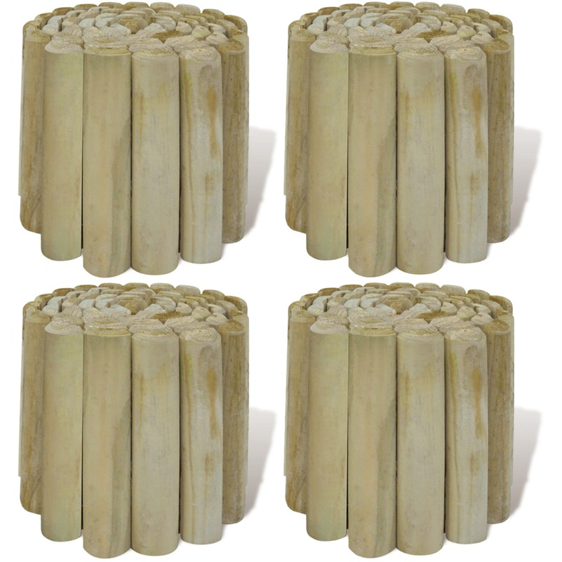 vidaxl rouleau bordure en bois pour jardin 4 pcs. Black Bedroom Furniture Sets. Home Design Ideas