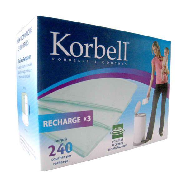 Korbell lot 3 recharges poubelle couche 15l - Poubelle anti odeur couche ...