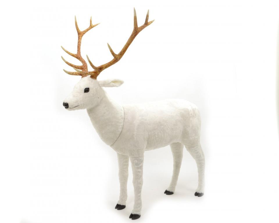 Decoration Noel Renne Blanc En Polyester