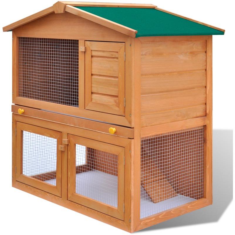 Vidaxl cage clapier ext rieur en bois pour lapins 3 porte for Cage exterieur pour lapin