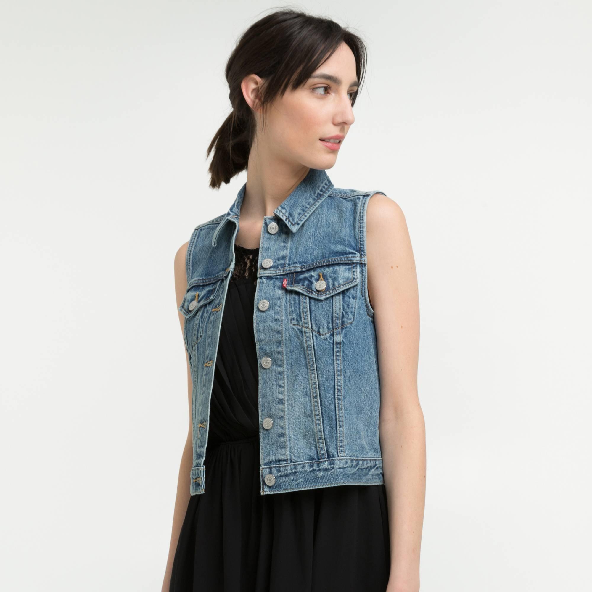 Veste en jean femme sans manche