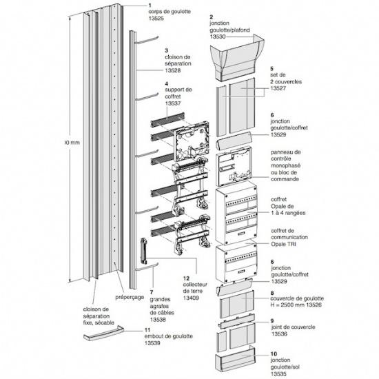 schneider jonction plafond goulotte gtl opale 13530. Black Bedroom Furniture Sets. Home Design Ideas