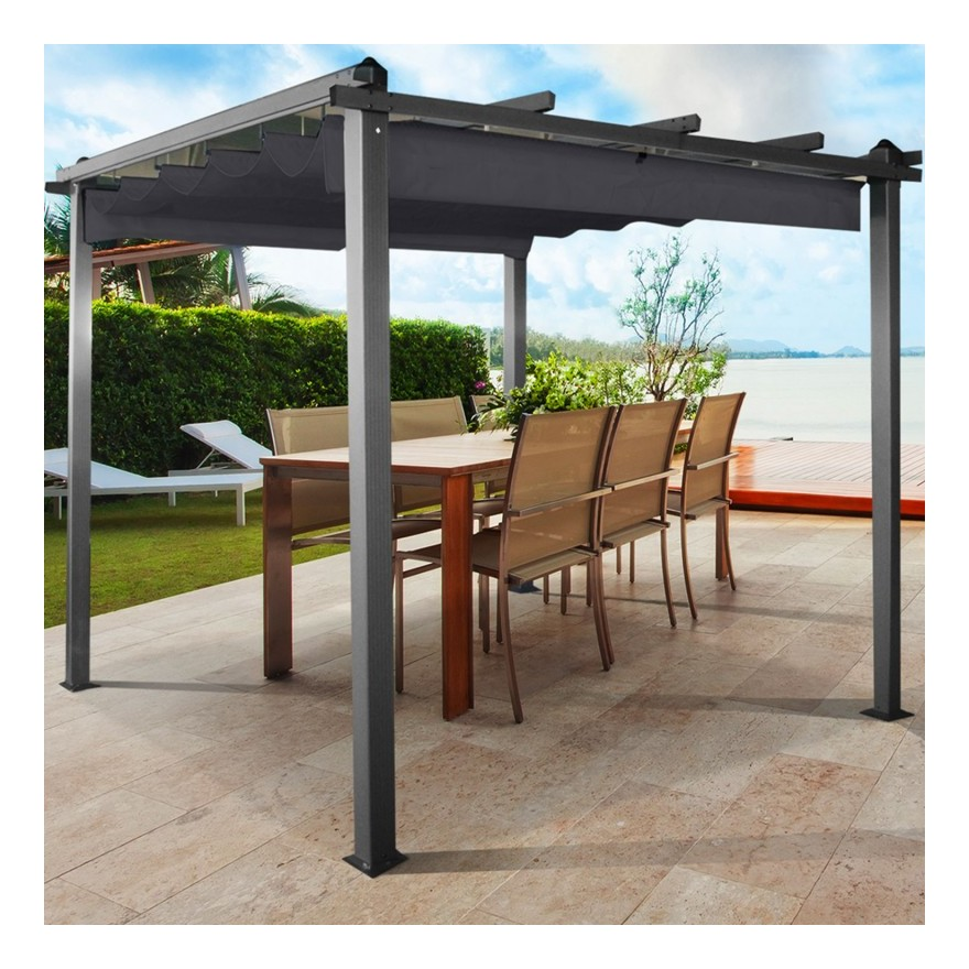 probache cpergola alu 3x3m tonnelle avec toit r tractable g. Black Bedroom Furniture Sets. Home Design Ideas