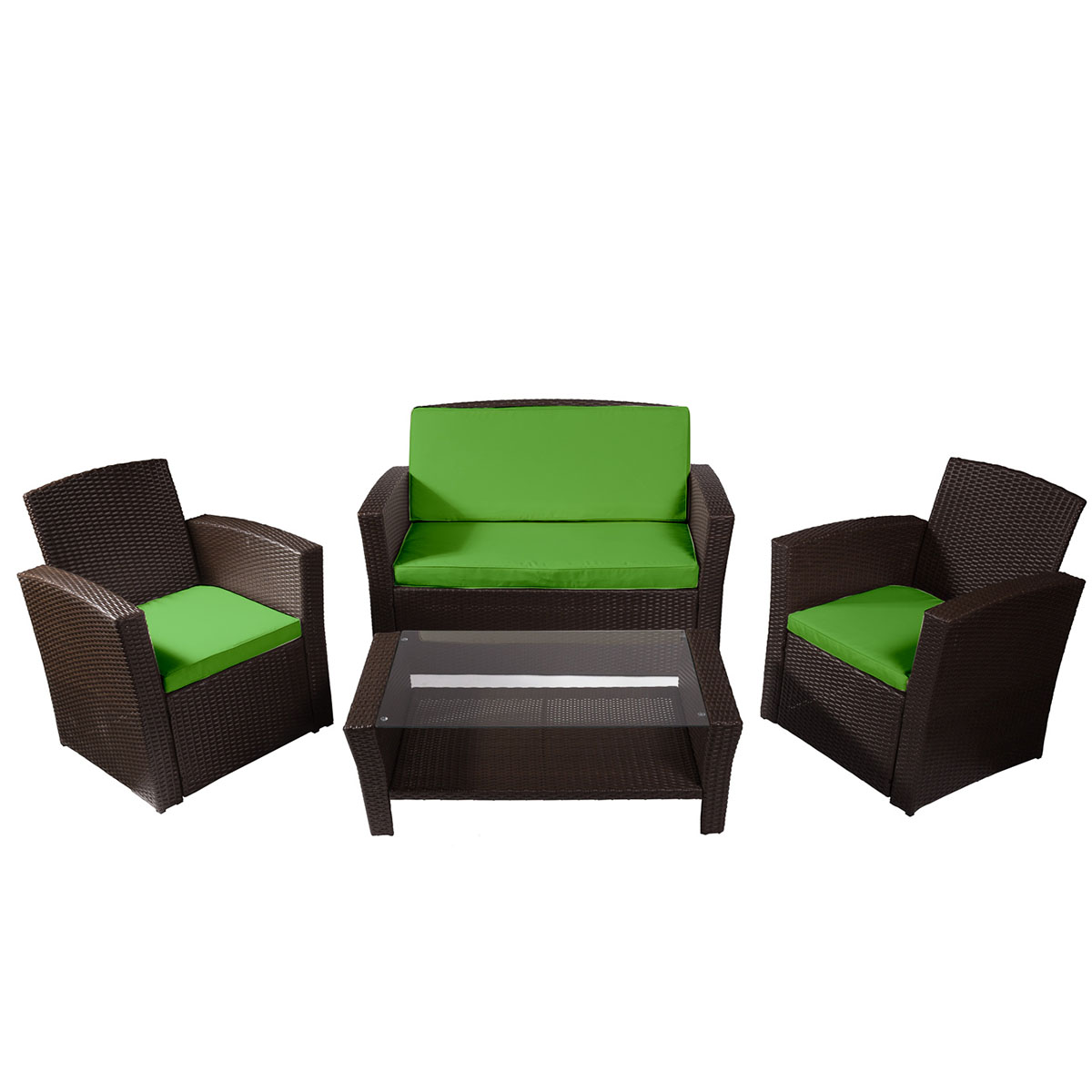rotin salon largo couleur ebne et coussin vert salo. Black Bedroom Furniture Sets. Home Design Ideas