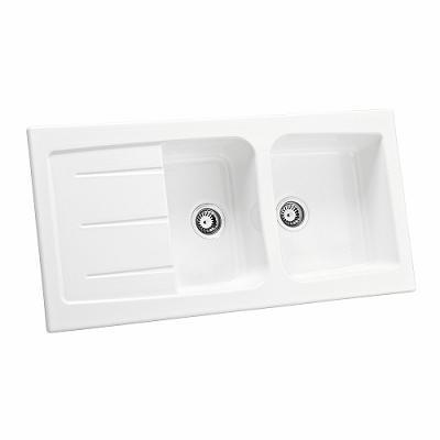 Allia cevier basilic 2 cuves 120x60 blanc 00696000000 for Cuve evier ceramique