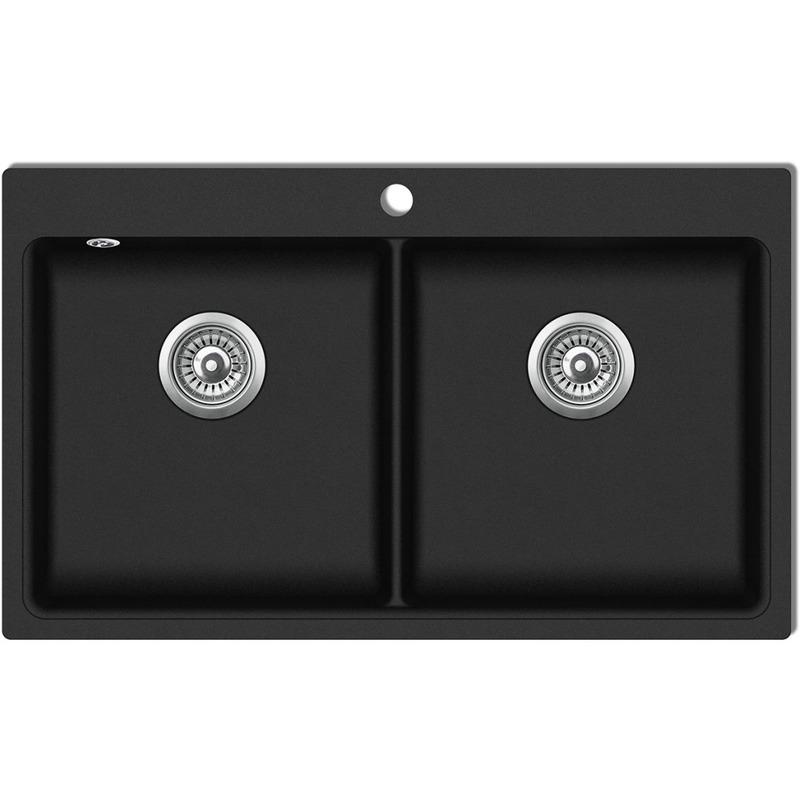 vidaxl vier de cuisine encastrable 2 bacs en granite n. Black Bedroom Furniture Sets. Home Design Ideas