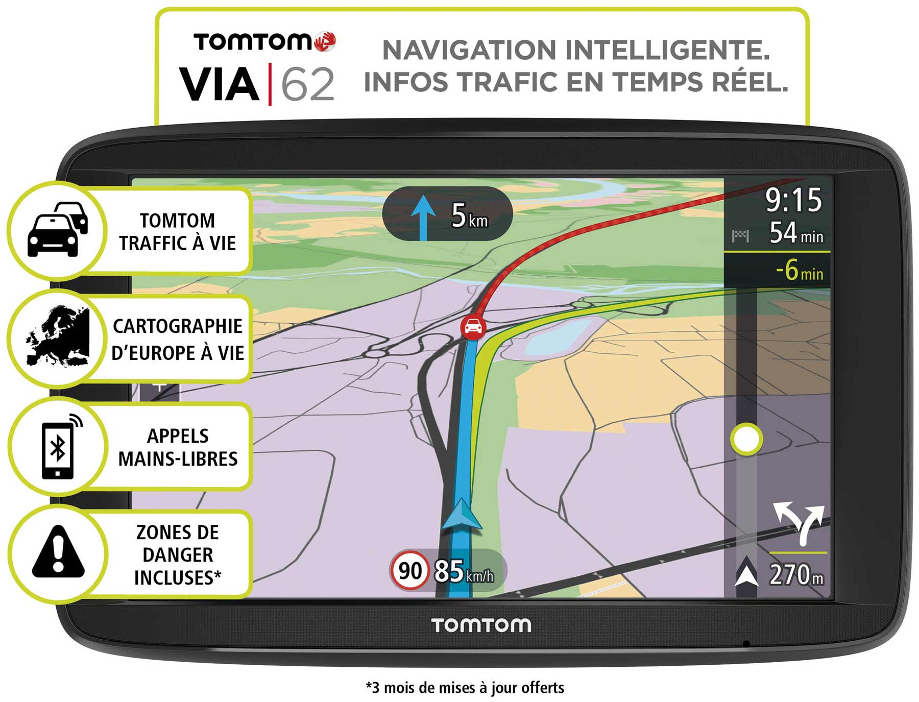 tomtom via 62 navigateur gps automobile grand cran tactile 6 pouces usb bluetooth microsd. Black Bedroom Furniture Sets. Home Design Ideas