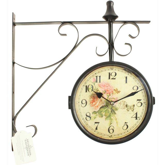 decoration c dautrefois horloge de gare ancienne double fac. Black Bedroom Furniture Sets. Home Design Ideas