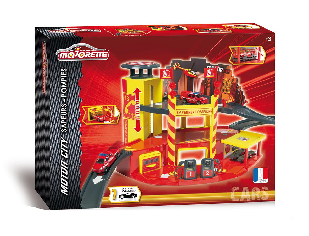 Majorette garage motor city pompier for Comparateur garage voiture