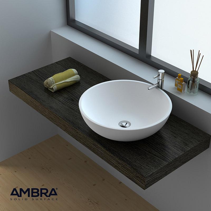 ambra vasque poser ronde 40 cm en solid surface bol. Black Bedroom Furniture Sets. Home Design Ideas