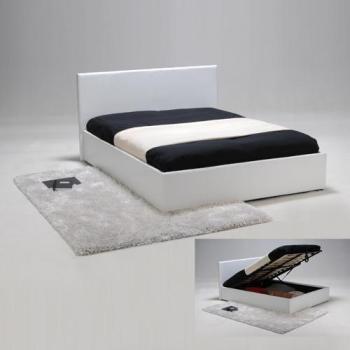 Lit coffre barcelona couchage 140x190 cm couleur blanc - Sommier coffre 140x200 ...