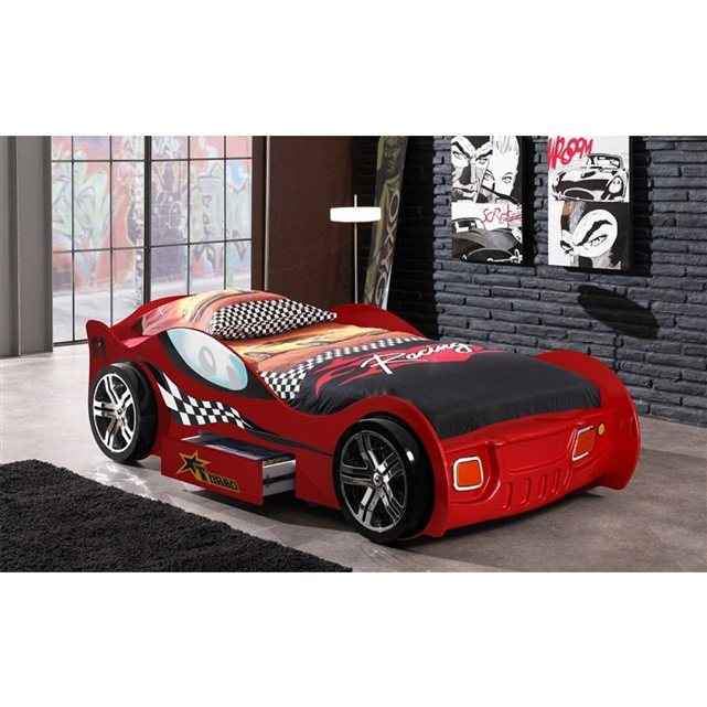 someo lit enfant voiture turbo rouge tiroir 90x200. Black Bedroom Furniture Sets. Home Design Ideas