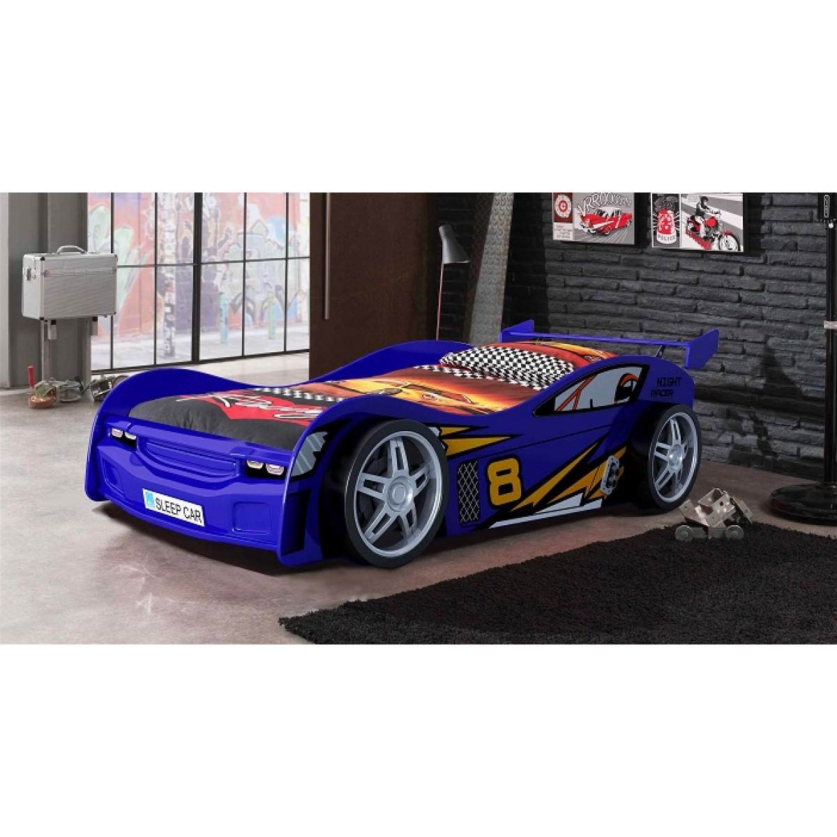 terre clit enfant voiture night racer bleu 90x200 de. Black Bedroom Furniture Sets. Home Design Ideas