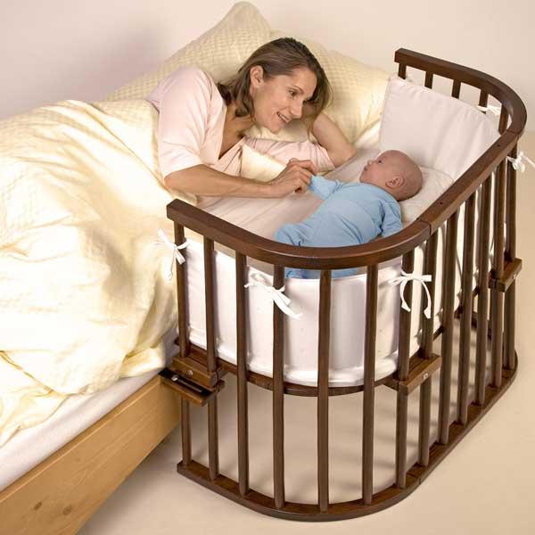 Babybay berceau lit cododo original satine marron wenge - Lit bebe qui s accroche au lit des parents ...