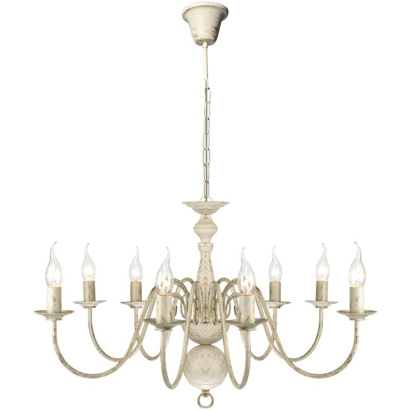 vidaxl lustre en m tal blanc antique 8 x e14 ampoules. Black Bedroom Furniture Sets. Home Design Ideas