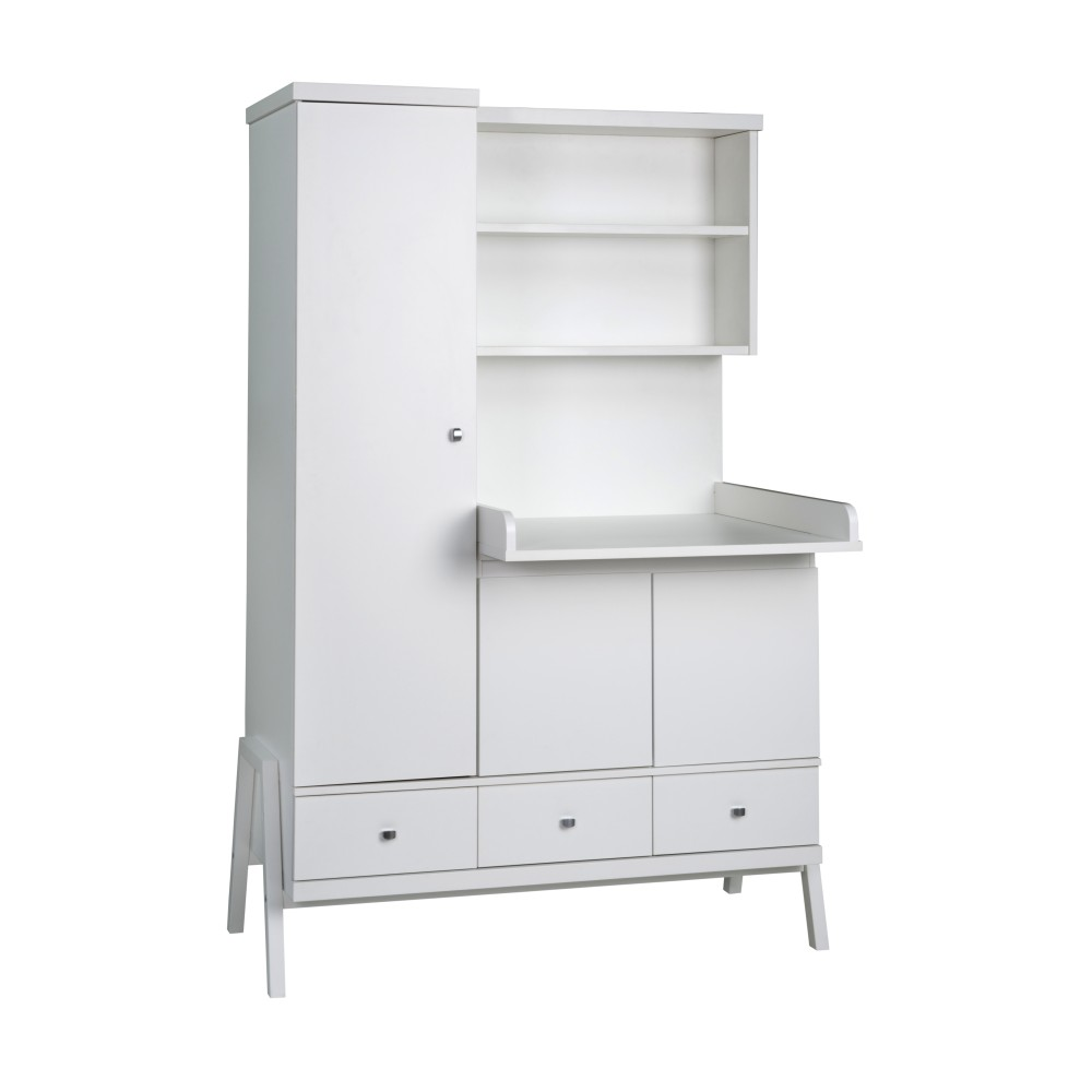 Schardt armoire avec commode langer int gr e holly blanc for Meuble a langer