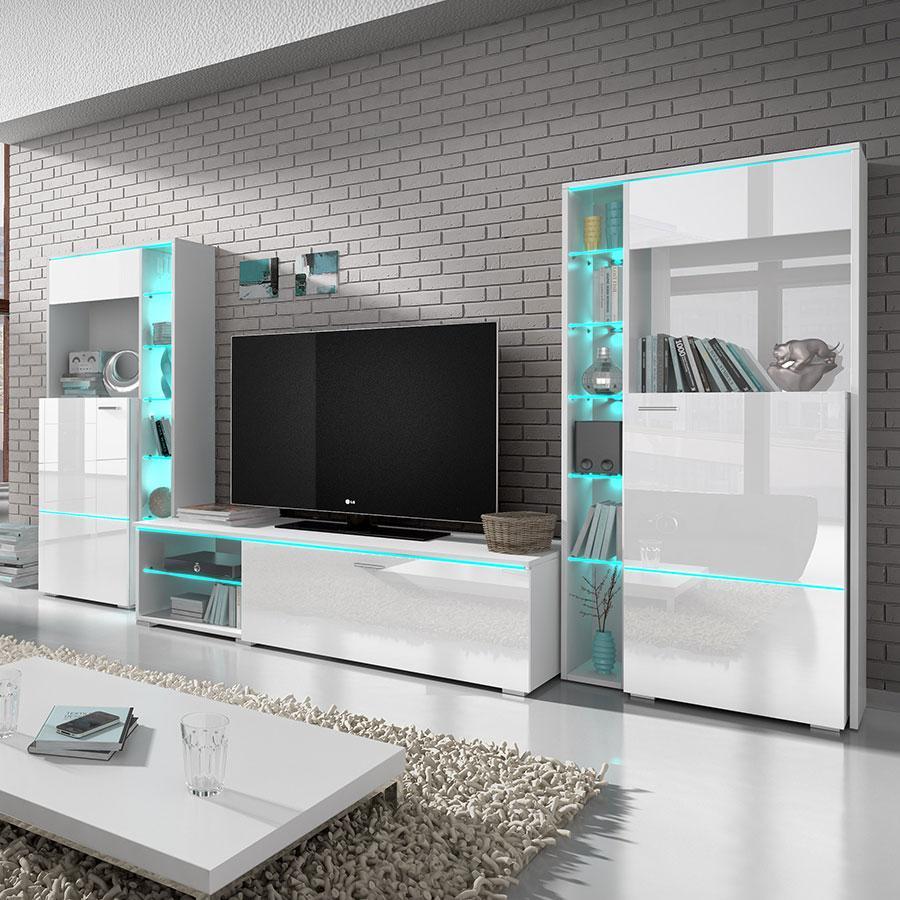 Magnificent Meuble Tv A Led Design Blanc Laque Moon Meilleure Inspiration Largest Home Design Picture Inspirations Pitcheantrous