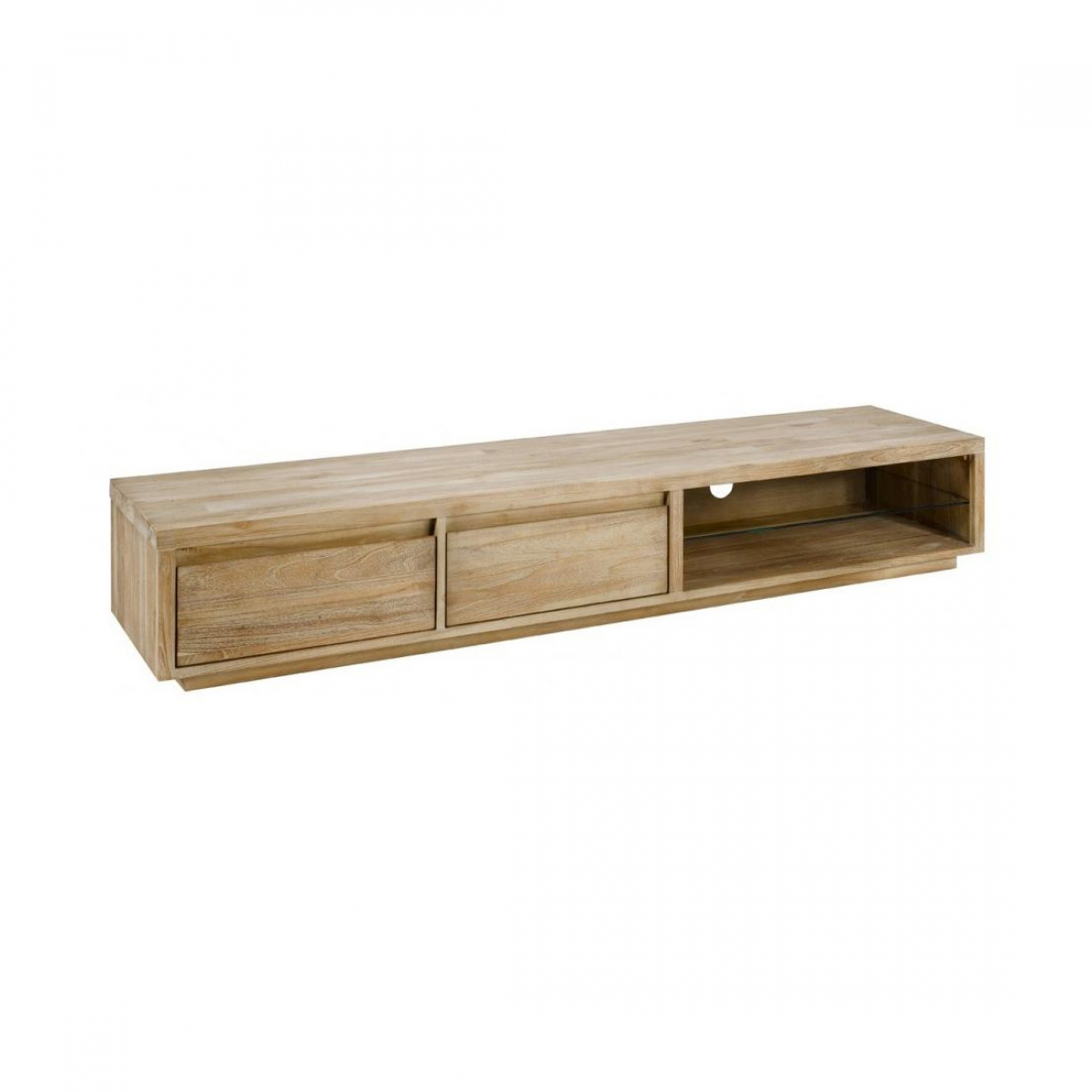 zago meuble tv teck lin 2 niches 2 tiroirs cosmopolitan. Black Bedroom Furniture Sets. Home Design Ideas