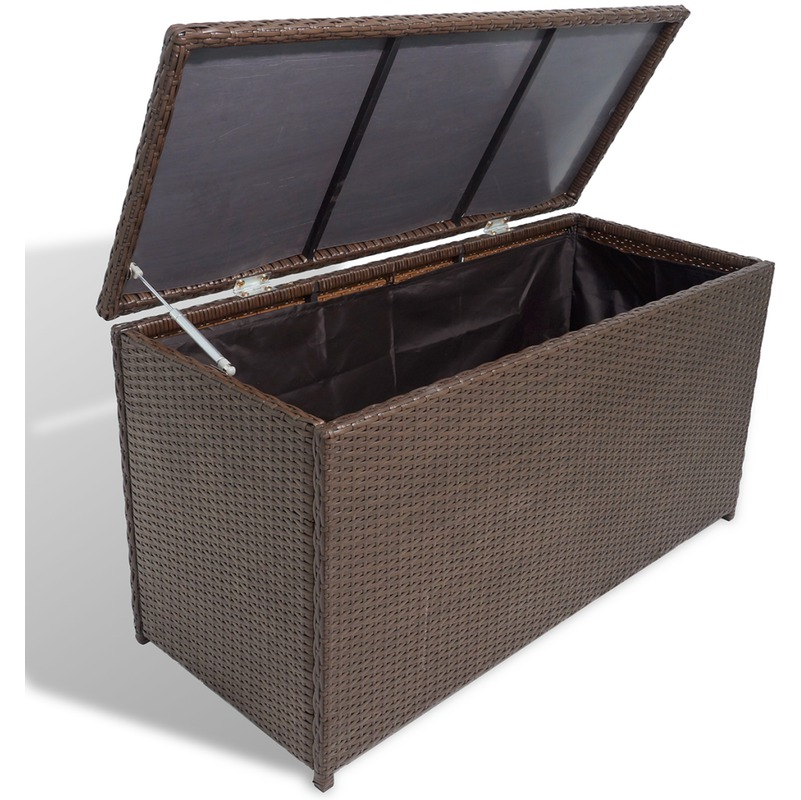 vidaxl coffre de stockage en poly rotin marron tanche. Black Bedroom Furniture Sets. Home Design Ideas