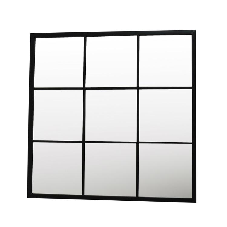 Akhal miroir carr en m tal noir fen tre 9 carreaux l 9 for Miroir carre blanc