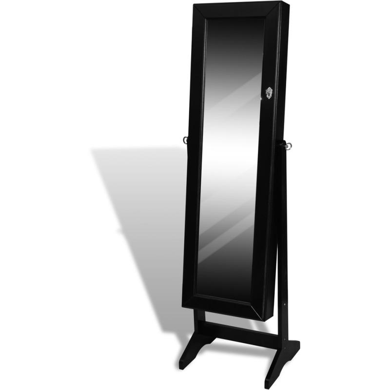Vidaxl armoire bijoux noire sur pied avec miroir rglab for Armoire noire avec miroir