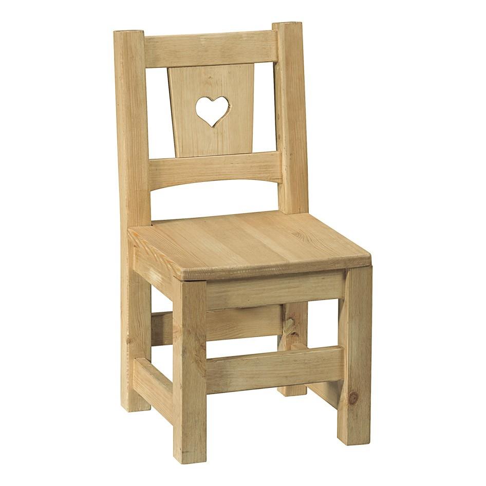 Non chaise enfant en pin brut prt peindre avec coeu - Peindre chaise en bois ...