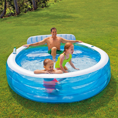 Intex piscine gonflable avec banc for Accessoire piscine intex
