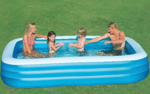 Intex piscine rectangulaire family grand modle for Piscine gonflable rectangulaire