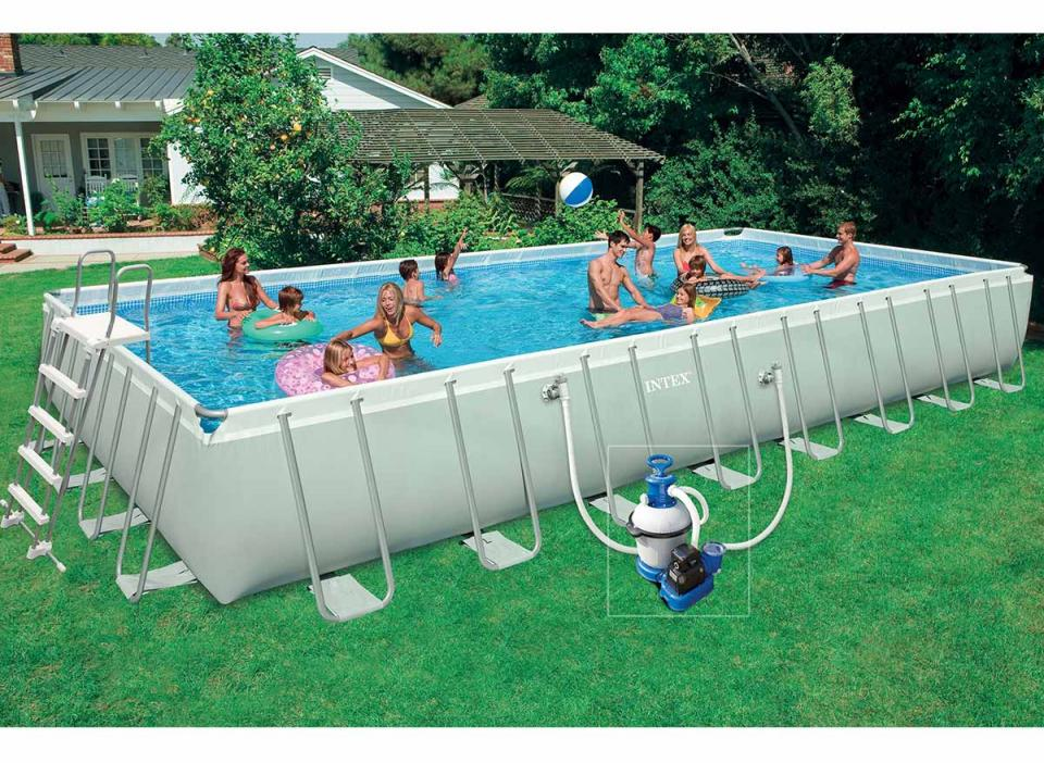 Intex piscine tubulaire rectangulaire 9 75 x 4 88 x 1 32 m for Traitement piscine hors sol