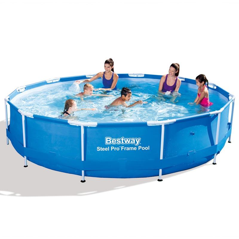 bestway piscine gonflable ronde steel pro avec cadre en ac. Black Bedroom Furniture Sets. Home Design Ideas