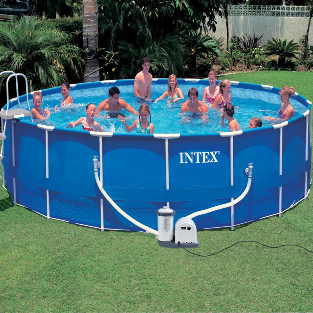 intex kit piscine ronde avec chssis en acier 549 x 122. Black Bedroom Furniture Sets. Home Design Ideas