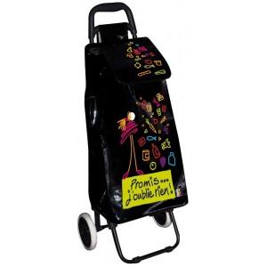 Incidence poussette de march 6 roues acier et vinyle noir curs - Poussette de marche 6 roues ...
