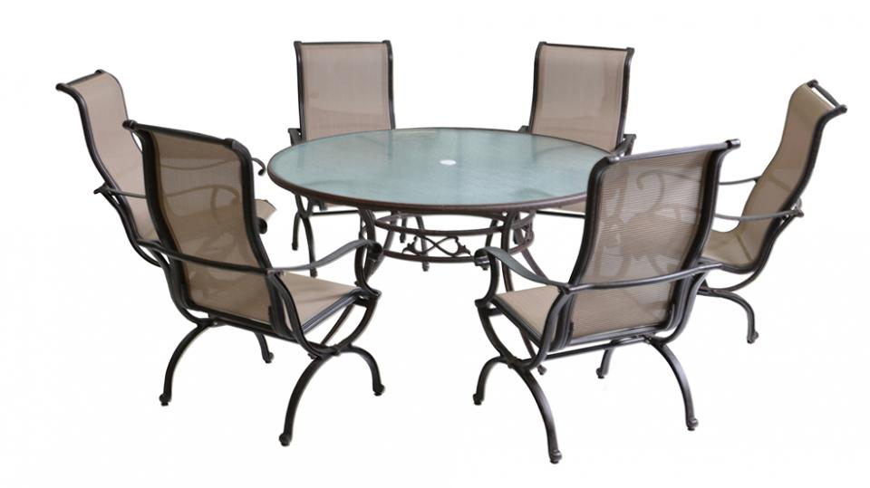 Salon de jardin table ronde 6 personnes for Mobilier de jardin leroy merlin
