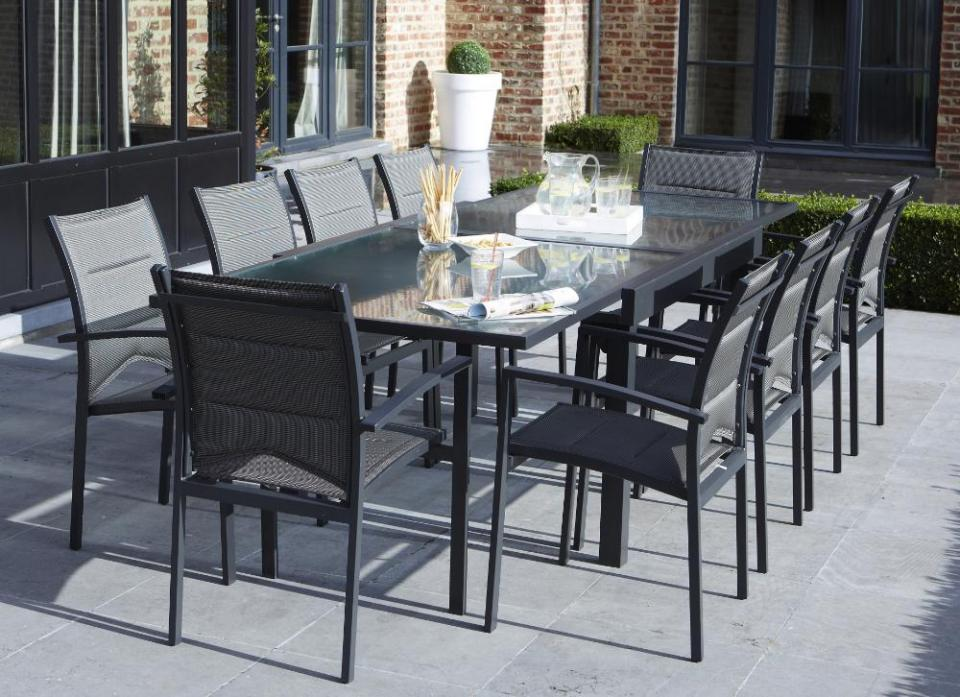 Wilsa c garden salon de jardin avec rallonge modulo gris for Table design 10 personnes