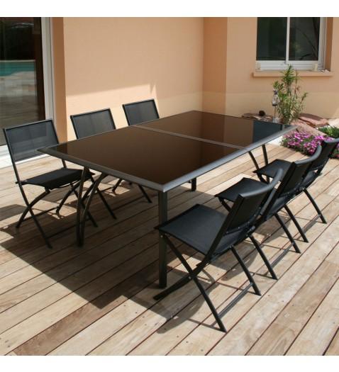deco table aluminium et verre noirs chine. Black Bedroom Furniture Sets. Home Design Ideas