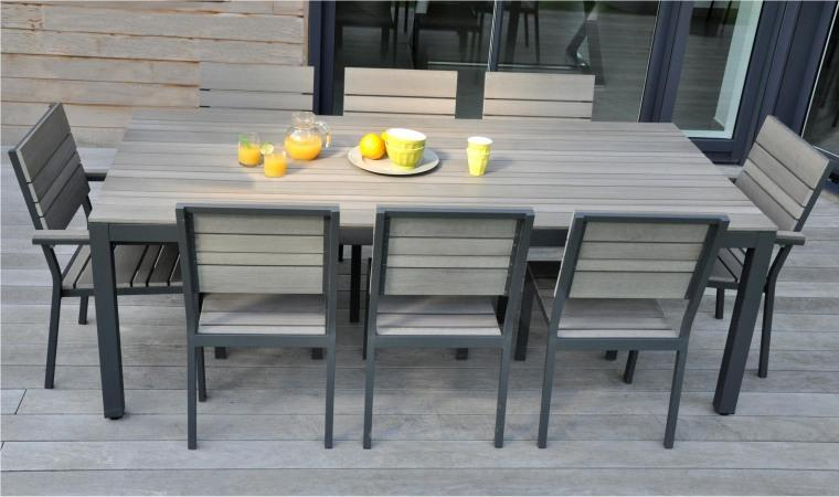 Table jardin alu couleur des id es for Table en aluminium exterieur