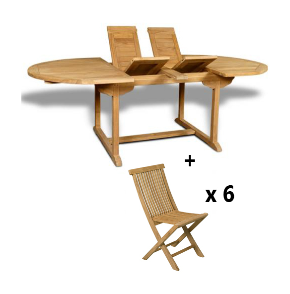Teck csalon de jardin en rio 1 table ovale extensible for Table ovale en teck