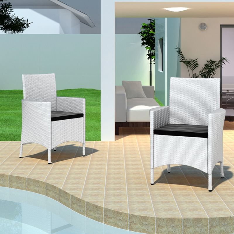 vidaxl 2 chaises en rotin blanc. Black Bedroom Furniture Sets. Home Design Ideas